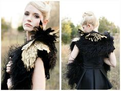 Gold and black ostrich feather stole.  Image by Alea Lovely / www.alealovely.com Stole by emmy-ray design studio / www.emmy-ray.com
