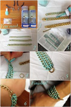 DIY colored chain - unfortunately the directions are in German, I believe; but you can get the idea from the pictures!