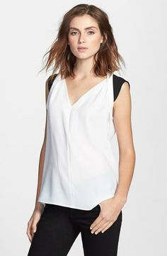 T Tahari 'Caleb' Colorblock Sleeveless Blouse available at #Nordstrom