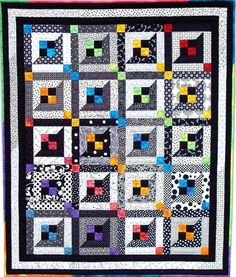 Lattice Windows Quilt Pattern - great combo of color with black & white for baby eye stimulation.