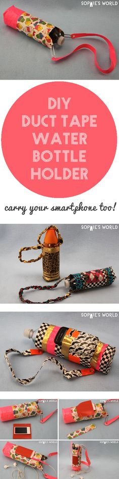 A great how-to for a water bottle holder, that can even hold your smartphone too. This is a fun project that can be easily customizable with different size bottles, tape colors, and even secret pockets for your favorite device.#ducttape #stickyfingers #sophiesworld