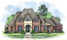 Country Cottage House Plans | Meadowbrook - Country French Home Plans Louisiana House Plans