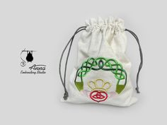Embroidered magic pouch with a Claddagh. Irish by BackToMagic
