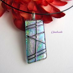 Tempo in Teal Blue Dichroic Fused Glass Jewelry Pendant One-of-a-Kind | Umeboshi - Jewelry on ArtFire