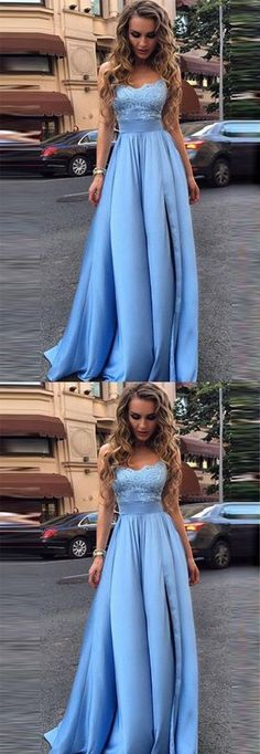 Sexy Prom Dress With Ruffles Appliques Long Prom Dress Blue Evening Dresses Formal Dresses Sexy Evening Dress, Blue Evening Dresses, Prom Dresses Blue, Trendy Dresses, Dance Dresses, Ball Dresses, Ball Gowns, Dress Prom, Dress Long