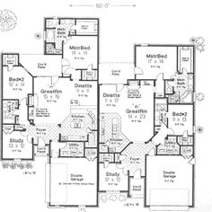 English-Country Style House Plans - 3708 Square Foot Home, 1 Story, 6 Bedroom and 4 3 Bath, 4 Garage Stalls by Monster House Plans - Plan English Country Style, Country Style House Plans, Country Style Homes, Duplex Floor Plans, House Floor Plans, Family House Plans, New House Plans, House Extension Plans, Duplex Design