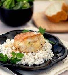 Heat Oven to 350: Brie-Stuffed Chicken Breasts with Pear and Cider Sauce