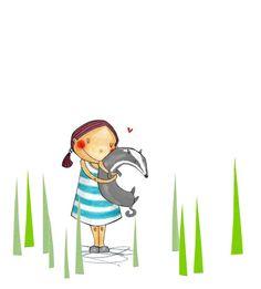 Girl and Badger Badger, Book Illustration, Mixed Media, Study, My Love, Heart, Cute, Books, Handmade
