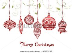 Seamless Hand Drawn Bauble Background.