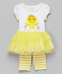 Loving this Yellow Chicken Dress & Stripe Leggings - Infant, Toddler & Girls on #zulily! #zulilyfinds