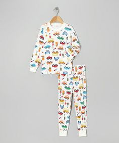 Take a look at this White & Blue Traffic Pajama Set - Toddler & Boys by Sara's Prints on #zulily today!