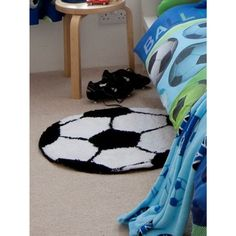 Fun football design circular rug Approximately 65cm in diameter Non-slip latex backing