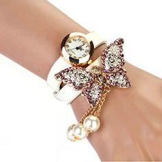 Bessky(TM) 2014 1PC Women Faux Pearls Rhinestone Butterfly Bracelet Quartz Analog Watch White
