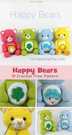 crochet bear This Happy Bears Amigurumi Crochet Free Pattern is really fun, so you will enjoy the whole crochet process to make them. Crochet Bear Patterns, Crochet Animal Amigurumi, Crochet Gratis, Crochet Amigurumi Free Patterns, Crochet Teddy, Cute Crochet, Crochet Dolls, Crochet Animals, Doll Patterns