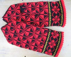 Items similar to Handmade knitted wool mittens / Handknit Gloves / winter accessories, Black Yellow, Red and Green on Etsy Knitting Charts, Knitting Ideas, Hand Knitting, Knitted Gloves, Hand Warmers, Sorting, Knit Crochet, Socks, Tejidos