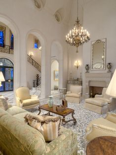 Amazing architectural details! Stunning living room with fab arches.