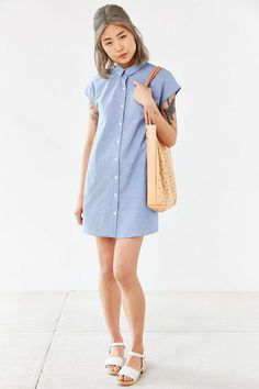 BDG Sleeveless Trapeze Shirt Dress - Urban Outfitters
