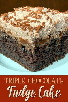 A chocolate cake is made richer by pouring hot fudge over top before adding a layer of chocolate mousse-like frosting to make Triple Chocolate Fudge Cake. Chocolate Potato Cake, Chocolate Mousse Cheesecake, Easy Chocolate Mousse, Chocolate Fudge Cake, Chocolate Desserts, Fudge Flavors, Sweet Potato Souffle, Sour Cream Cake, Fudge Sauce