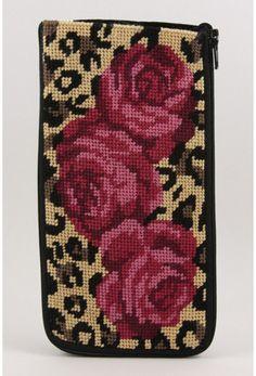 Eyeglass Case - Leopard and Rose - Needlepoint Kit