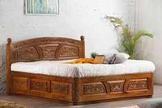 Solid Wooden Carving Czar Bed with Storage - Saraf Furniture - Coupon Applicable : Available Wood : Solid Sheesham WoodWarranty : Lifetime - Bedroom Furniture Online, Bed Furniture, Furniture Design, Wood Bed Design, Bedroom Bed Design, Bed Designs In Wood, Latest Wooden Bed Designs, King Size Bed Designs, Bed Designs With Storage