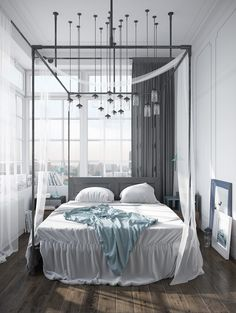 Certainly, everyone will need Amazing Home design to decorate their Home. If you would, you may check Scandinavian Bedroom Decor Ideas With Perfect and White Color Design Looks So Awesome to help you find out Amazing Home based on your favorite. Scandinavian Bedroom Decor, Scandinavian Apartment, Scandinavian Home, Industrial Scandinavian, Scandinavian Lighting, Modern Canopy Bed, Canopy Beds, Canopy Bedroom, Fabric Canopy