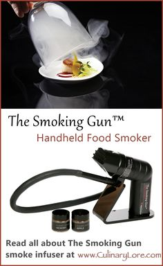 The Smoking Gun handheld smoke food smoker from Polyscience, for infusing your food with REAL smoke flavor without a huge smoker, indoors or out. Find out how it is used at CulinaryLore.