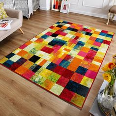 Cuba rugs 6-X feature a modern block design with an array of vibrant colour tones.