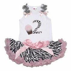 7510a905f51 Birthday Tutu -Girls Second Birthday Outfit- Birthday Zebra Tutu Set-  Birthday Party Dress- Girls Tutu Set-Trendy Baby Clothes