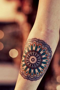 color mandala #arm #tattoos