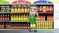 A Mature Man Speaking Over The Phone At A Supermarket Aisle For The Drinks Section:  A mature man with gray hair wearing a green shirt yellow shorts teal slippers parts his lips to speak in delight using a dark teal cellphone in his left hand that is placed on his left ear. Set in view of an aisle of a grocery selling refreshments booze and dips a semicircle sign in blue red and green adorn the top of the racks several bottles and boxes of different products are placed in the shelves for…