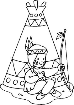 Coloring Indian child sitted in front of his tepee picture