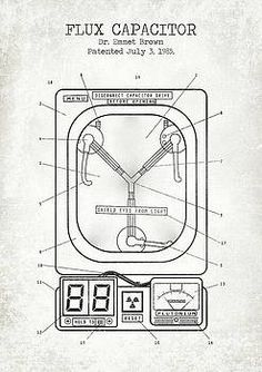 Flux Digital Art - Flux Capacitor Old Canvas by Denny H Back To The Future Tattoo, Back To The Future Party, Delorean Time Machine, Movie Decor, Bttf, Patent Prints, Cultura Pop, Cool Posters, Future Tattoos