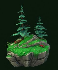 Low poly pine trees. Hand painted textures: