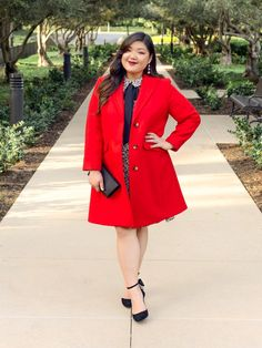 a991c63ae989 Curvy Girl Chic Plus Size Fashion Blog Leopard Print Holiday Outfit Idea  Red Coat and Leopard