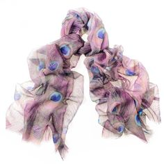 Featherlight Peacock Print Cashmere Scarf ($160) ❤ liked on Polyvore featuring accessories, scarves, peacock scarves, cashmere stole, patterned scarves, purple scarves and purple shawl