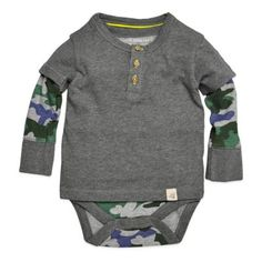 Burt's Bees Baby® Organic Cotton Henley Long Sleeve 2-Fer Bodysuit in Camo - buybuyBaby.com