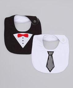 Take a look at this My Baby Love Black Tuxedo Bib Set by Just Add Cuteness: Kids' Accessories on #zulily today!