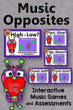 Your elementary music students will love these interactive music games reinforcing music opposites! Easy to add to lesson plans. Get ready for the giggles and movement! Excellent Orff and Kodaly resource! Works great on a Smartboard too!