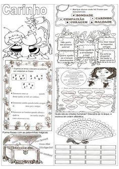 Quais são as virtudes humanas? Descubra-as no leque, e                                           escreva em ordem alfabéti... School Coloring Pages, Journal, Teaching, Education, Bingo, Homeschooling, 1, Respect Activities, Creative Activities For Kids
