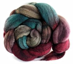 Mixed BFL wool roving, spinning fiber, hand painted bfl roving, bfl combed top, felting fibers. $17.00, via Etsy.