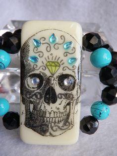 Sugar+Skull+Domino+Bracelet+by+JnzAlteredArt+on+Etsy,+$20.00