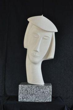 Patrice Kauffmann (©2009 patricekauffmann.com) sculpture sur pierre polie représentant un visage