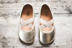 Champagne ballerina shoes.