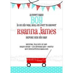 Red Wagon Printable Invitation - Dimple Prints Shop