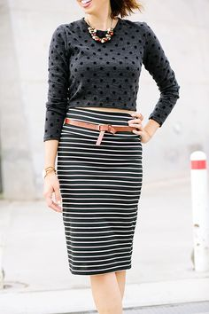 polka dot sweater and striped bodycon pencil skirt // mismatched fall outfit #style #fashion