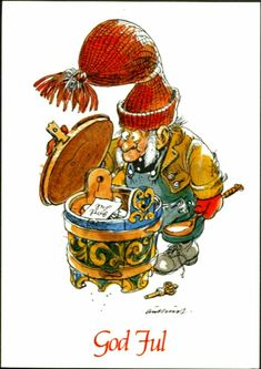 Nisse m/grøtdall. Utg C. Christmas Postcards, Gnomes, Troll, Norway, Rooster, Comics, Animals, Animales, Animaux