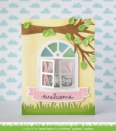 Hello!   It's Lawn Fawn March inspiration week, woohoo!      Today we're featuring Meow You Doin'? and Wonderful Window so I made a card usi...