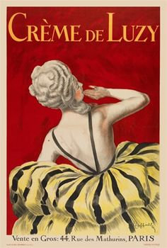 Creme De Luzy makeup cream poster by Cappiello 1919 French. Beautiful Vintage Posters Reproductions features a woman in yellow dress. Giclee Advertising Prints, Cappiello Posters Reproductions. Giclee Prints
