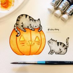 Kitties playing on a cat-o'-lantern 🐱🎃 I accidentally painted over the parts where the carved whiskers should be, so just think that the kitties got lazy carving and decided to draw them on instead 😂😻 - - Just a reminder that there are some prints left from my collab with artistsdrop.com 😊 there are currently 7 available and will be on sale until November 12. Direct link in my profile for easy access 💕 - - I'm also working on another project that I'm excited to announce in the future…