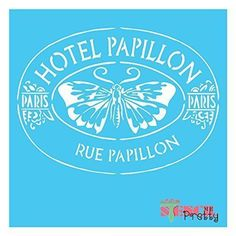 Stencil - French Hotel Papillon Shabby Chic Vintage Diy Sign Template Butterfly
